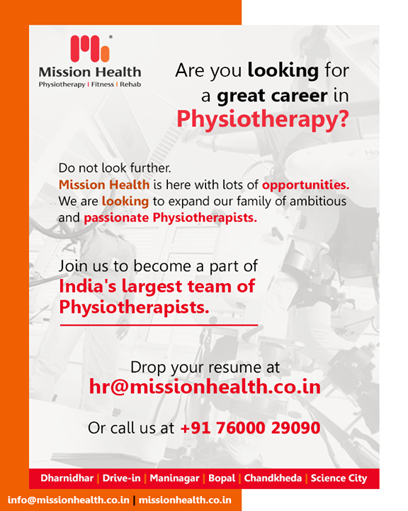 We are looking to expand our family of ambitious and passionate Physiotherapists. Join us to become a part of India's largest team of #Physiotherapists.  #MissionHealth #MissionHealthIndia #Physiotherapy #Fitness #Rehab #JobOpenings #jobsinAhmedabad