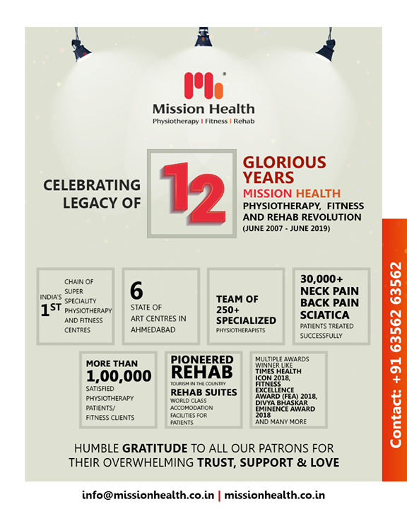 Celebrating our glorious journey of 12years while being thankful to each & every one of you who have been a partner in this with us. ✨🤸‍♂️🏋️‍♀️🎉  #MissionHealth #SuperSpeciality #Physiotherapy #Fitness #Rehab #Ahmedabad #Gujarat #RedefiningPhysiotherapy #ProudTeam #TeamMissionHealth #ThankYouAll #CelebratingLegacyOf12Years #TrendSetter #MovementIsLife