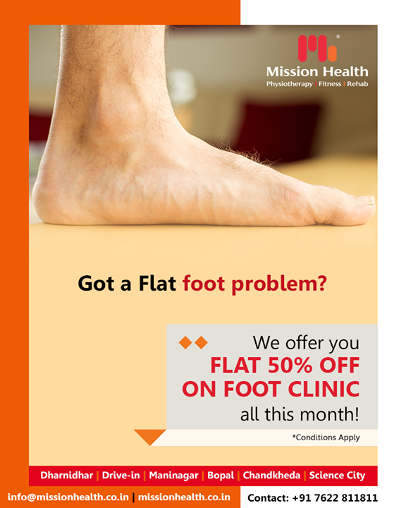 Let that flat foot not bother you any longer! Offering FLAT 50% discount on foot clinic all this month!   #MissionHealth #MissionHealthIndia #Physiotherapy #Fitness #Rehab