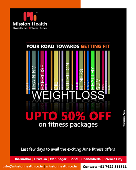 Invest in a fitter you! Last few days to avail exciting offers on Fitness at Mission Health!   #FitnessOffers #JuneOffers #GetFit #MissionHealth #MissionHealthIndia  #fitnessRehab #AbilityClinic #MovementIsLife #weightloss #fitness #fitnessoffer #weightmanagement