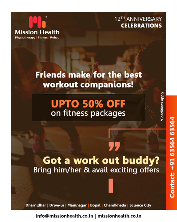 Gymming is fun when you have your best friend as your working out partner! Last few days to avail exciting offers on Fitness at Mission Health!   #FitnessOffers #JuneOffers #GetFit #MissionHealth #MissionHealthIndia #fitnessRehab #AbilityClinic #MovementIsLife #weightloss #fitness #fitnessoffer #weightmanagement