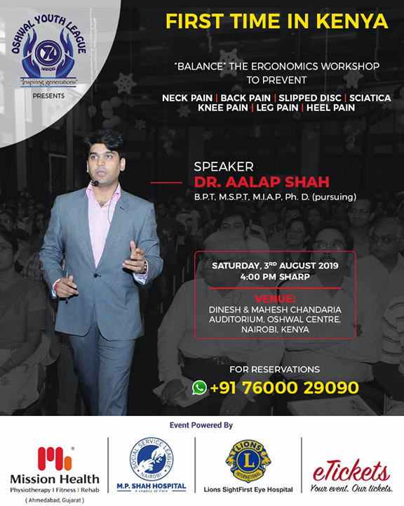 Ergonomics explained like never before! Kenya buckle up for an Ergonomics Workshop for the first time by the eminent Spine Specialist with Rehab background, Dr Aalap Shah, who's workshops have benefited more than 5,00,000 people till today.   Save your dates!  #MissionHealth #MissionHealthIndia #AbilityClinic #MovementIsLife #Workshops #AalapShah #SpineSpecialist #Ergonomics #ErgonomicsWorkshop #IndianDoctors #Kenya #WorkshopsInKenya