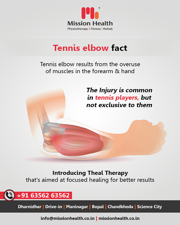Tennis elbow can cause excruciating pain & needs immediate attention!     #ThealTherapy #TennisElbow #TennisElbowFacts #ElbowPain #MissionHealth #MissionHealthIndia #AbilityClinic #MovementIsLife