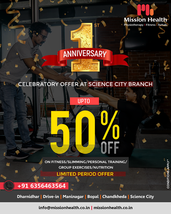 Come celebrate with us with up to 50% on all fitness & related services all this week as we celebrate ONE year of our Science City branch!   #Offer #OneYear #Celebration #MissionHealth #MissionHealthIndia #MovementIsLife