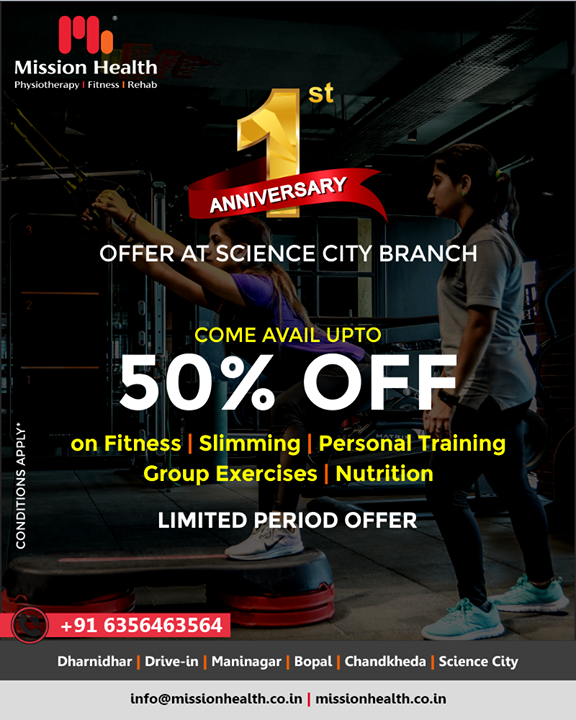 Let fitness be your priority, avail exciting offer at our Science city branch as we celebrate its 1st anniversary!   #Offer #OneYear #Celebration #MissionHealth #MissionHealthIndia #MovementIsLife