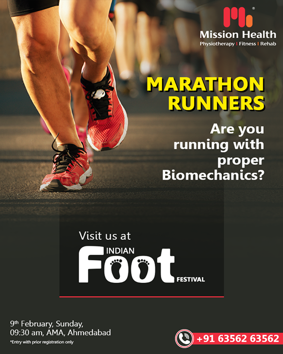 Marathon Runners!  Pay attention to footwear you use along with proper Foot & Lower Limb Biomechanics during your each marathon...  To know more visit us at The Indian FOOT Festival by Mission Health.  Call: +916356263562 Visit: www.missionhealth.co.in  #IndianFootFestival #IFF #IFFMH #MHIFF #Marathons #Marathonrunners #IFF2020 #ComingSoon #FootClinic #footpain #footcare #foothealth #heelpain #anklepain #flatfeet #painrelief #healthyfeet #happyfeet #MissionHealth #MissionHealthIndia #MovementIsLife