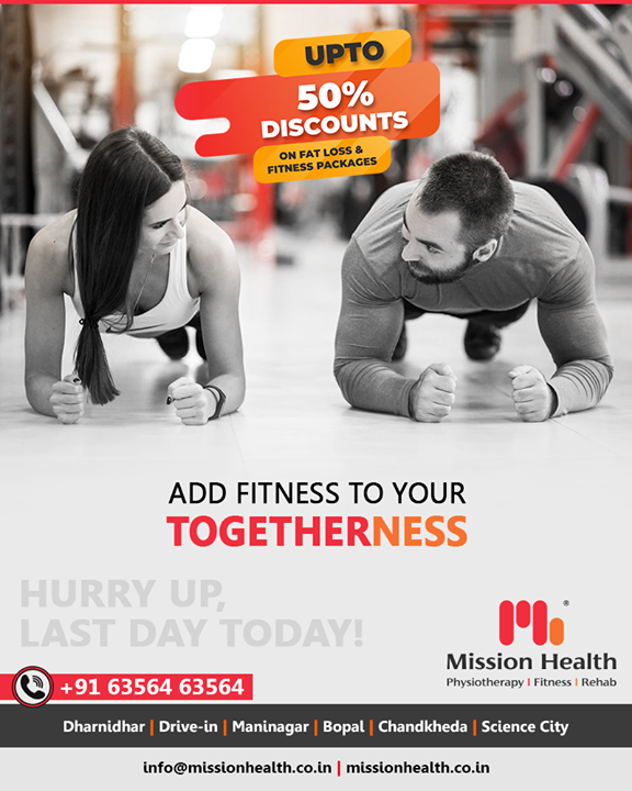 Add Fitness To Your Togetherness and Grow Fit Together.    UpTo 50% Off on Various Fat Loss & Fitness Packages  Visit your nearest Mission Health Fitness Boutique to enroll and march towards your fitness goals with Mission Health. Hurry up, Last day today!  Call: +916356463564 Visit: www.missionhealth.co.in  #valentinefitnessoffer #exercise #exercises #fitnessexperts #fitnessexpert #fitnessteam #gymoholic #winterworkouts #fitness #winterfitness #befit #gymoffers #fitnessoffers #goslim #MissionHealth #MissionHealthIndia #MovementIsLife