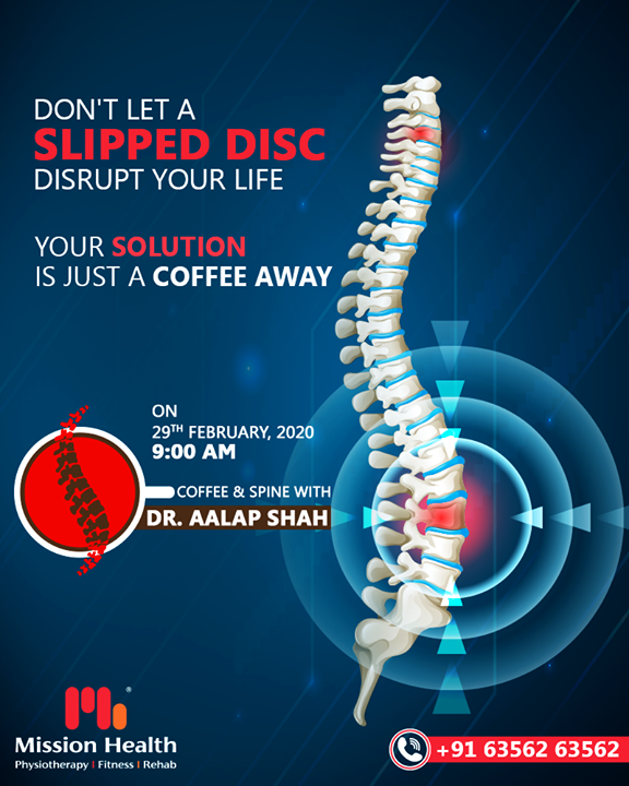 Slipped disc can be painful and life-altering get rid of affliction and get your life back on track.  Keep reading this space for more Updates  Call: +916356263562  Visit: www.missionhealth.co.in  #CoffeeAndSpineWithDrAalapShah #DrAalapShah #SuperSpecialitySpineClinic #SpineClinic #BackPain #NeckPain #SlippedDisc #MissionHealth #MissionHealthIndia #AbilityClinic #MovementIsLife