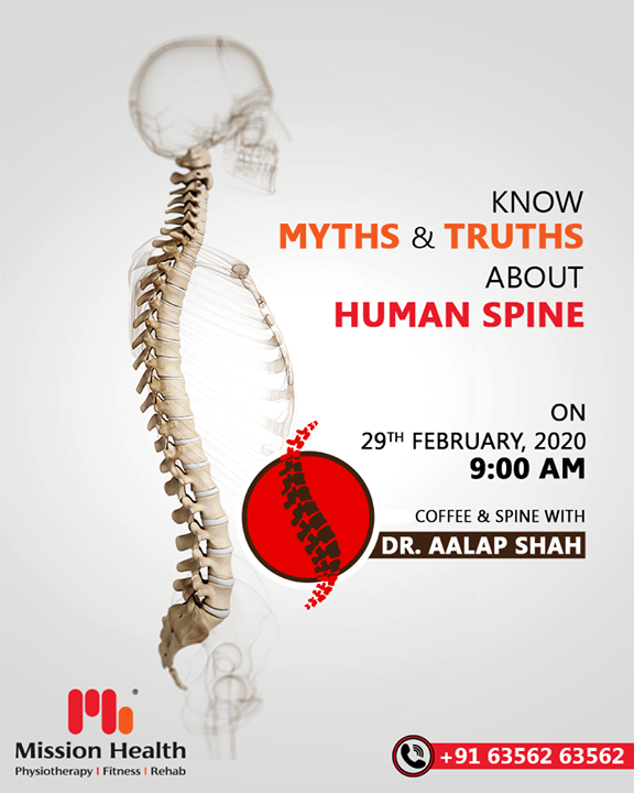 Coffee & Spine with Dr. Aalap Shah is just a DAY away! Learn interesting facts about the Human Spine and discuss your Spine Problems in a uniquely designed event at Mission Health  Human Spine is a very complex yet miraculous structure. Know Myths & Truths about Human Spine over a Coffee... Tomorrow, 29th February 2020  Call: +916356263562 Visit: www.missionhealth.co.in  #CoffeeAndSpineWithDrAalapShah #DrAalapShah #SuperSpecialitySpineClinic #SpineClinic #BackPain #NeckPain #SlippedDisc #MissionHealth #MissionHealthIndia #AbilityClinic #MovementIsLife