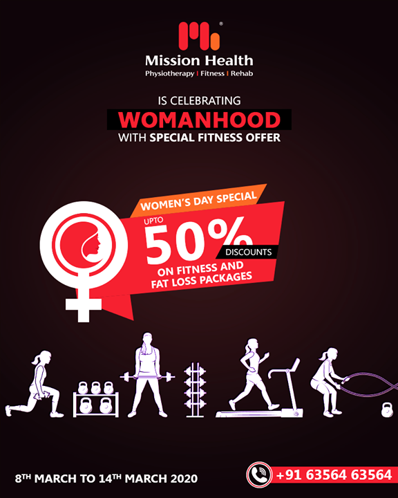 This Women's Day, Pledge to be the new YOU with our special offer!  Mission Health Fitness Boutique is offering upto 50% Discounts on various Fitness & Fat Loss Packages  Call: +916356463564 Visit: www.missionhealth.co.in  #WomensDay #Women #WomensDay2020 #RespectWomen  #InternationalWomensDay2020 #EachforEqual #InternationalWomensDay #fitnessworkout #fitness #fitnessmotivation #workout #fitnesslife #gym #workoutmotivation #fitnessaddict #fitnesscoaching #healthchallenge #MissionHealth #MissionHealthIndia #MovementIsLife