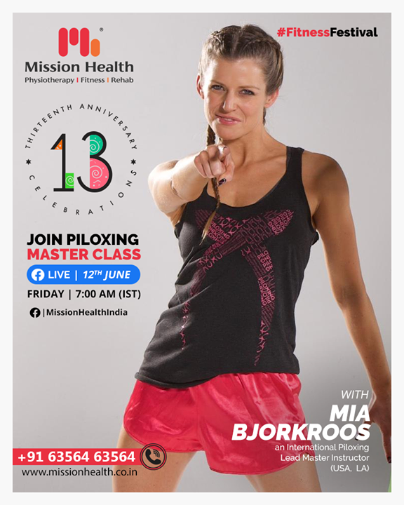On the occasion of our 13th Anniversary,  as a part of the Fitness Festival, we are more than excited to announce a first of its kind , live Piloxing Master Class (Pilates + Kick Boxing)  with the International Piloxing Lead Master Instructor from Los Angeles, Mia Bjorkroos.  Mia is a thought leader, educator, and speaker in the fitness industry with a passion for inspiring and helping people to live fit and healthy lives through unique concepts and expertise. She has an international network as well as a 360 perspective of the fitness industry.   Be ready in your fitness Gear and tune-in https://www.facebook.com/MissionHealthIndia sharp at 7 am, Friday, 12th June to workout with the International Master Trainer.   It's the Piloxing Master Class.  Don't miss it. Save the date now!   Call: +91 63564 63564 www.missionhealth.co.in  #fitnessfestival #anniversarycelebrations #miabjorkroos #piloxing #piloxingfitness #piloxinglive #missionhealthfoundationday #fitnesssession #fitness #befit #healthylifestyle #livehealthy #fitnessgoals #cardioworkout #workout #fatloss #inchloss #weightloss #strengthtraining #strengthbuilding #fitnessworkouts #fitness2020 #movementislife #missionhealth #MissionHealthIndia