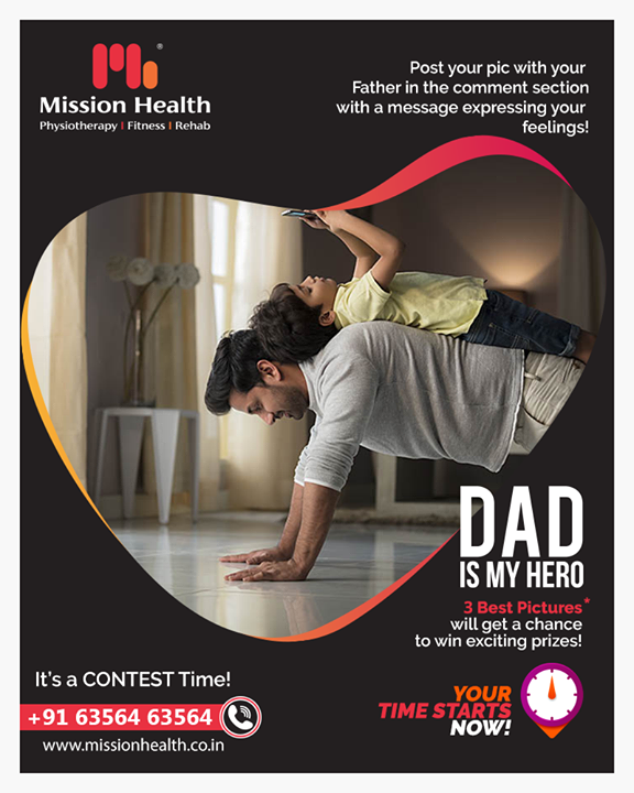 It's a CONTEST Time! Express your feeling towards your father. Share the best picture with your father in the comment and get a chance to win exciting prizes!  #FathersDay #Contest #MissionHealthIndia #MovementIsLife #AbilityClinic #MissionHealth #healthylifestyle