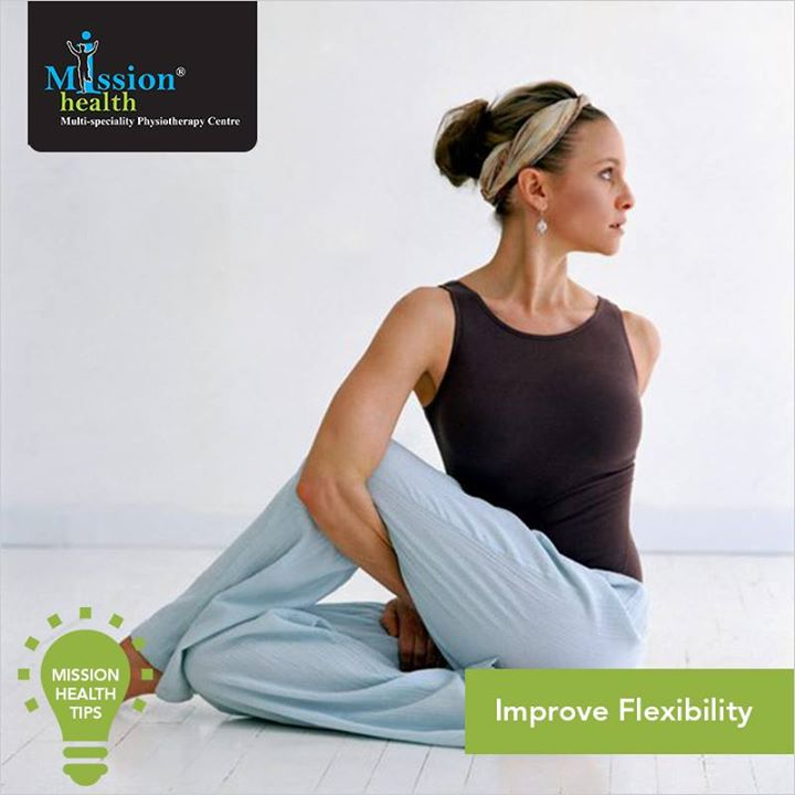 #MissionHealthTips Improved flexibility reduces stress in the exercising muscles and releases tension developed during the workout. It is important to include flexibility training as part of your regular fitness routine.    For more details - Visit us –www.missionhealth.co.in  Call us at - 7622811811 / 8530720720  #MissionHealth #MedicalGym #PhysicalFitness #MissionHealthTips #Flexibility