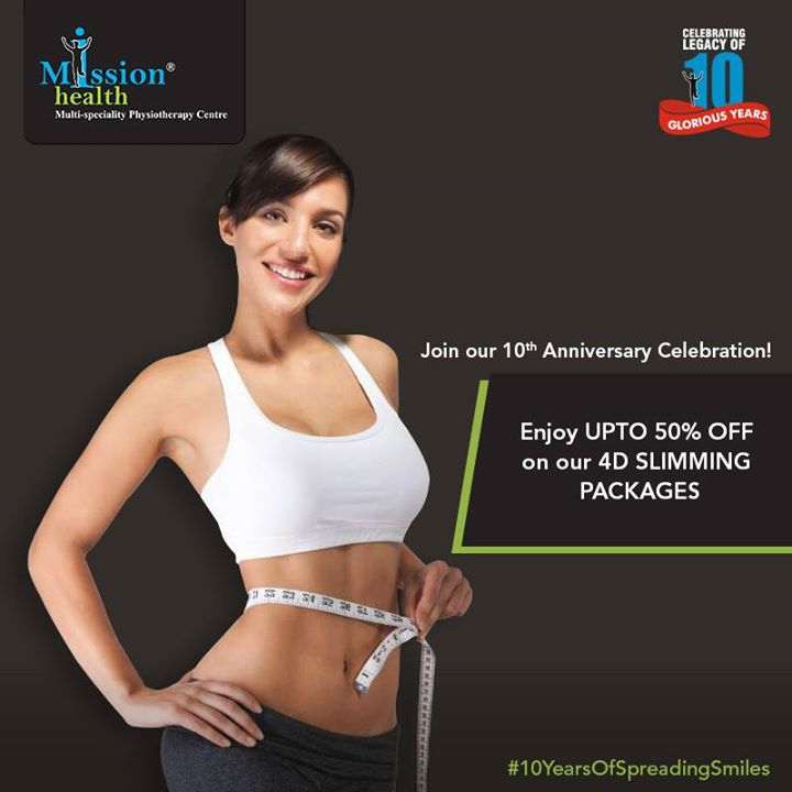 Now to get Slim is no more a dream!  👉Lose 5-7 kgs/10-15 cms in just one month, with our exclusive 4D Slimming Program.  Join us for our 10th Anniversary Celebrations and enjoy discounts of upto 50% (Conditions Apply)  For more details - Visit us –www.missionhealth.co.in  Call us at - 7622811811 / 8530720720  Stay Healthy, Stay Fit.  #MissionHealth #10YearsOfSpreadingSmiles #Ahmedabad #Discount #Offer #Slimming #WeightLoss #TransformYourself #HealthAndFitness