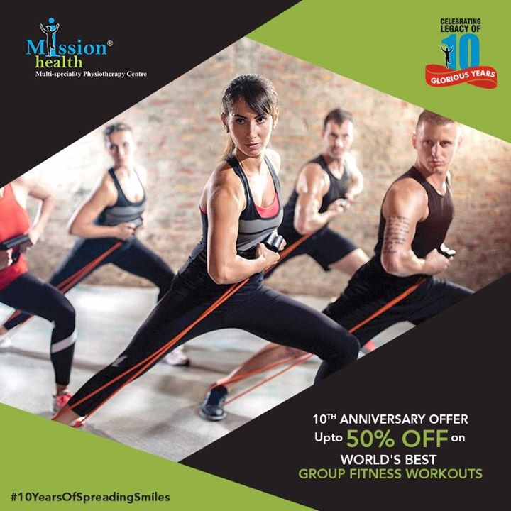 Get into your best shape at Mission Health. Join India's first Medical Gym for the world renowned Group Fitness Workouts. Enjoy our 10th Anniversary offer with upto 50% off on various fitness packages. (Conditions Apply)  Celebrating the legacy of 10 glorious years!  Know more about us at –www.missionhealth.co.in  Call us on - 7622811811 / 8530720720  Stay Healthy, Stay Fit.  #MissionHealth #10YearsOfSpreadingSmiles #Ahmedabad   #Decade #Anniversary #Discount #Offer #StayFit #StayHealthy