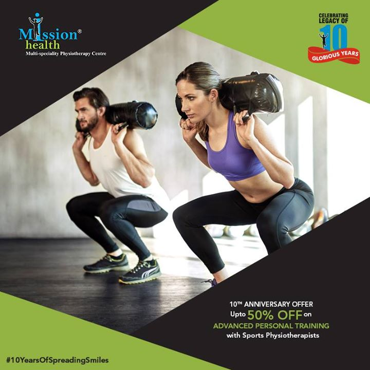 Transform yourself from XXL to M at India's 1st Medical Gym. Join Mission Health's Advanced Personal Training Program under the guidance of Sports Physiotherapists. Enjoy our 10th Anniversary offer with upto 50% off on various fitness packages. (Conditions Apply)  Celebrating the legacy of 10 glorious years!  Know more about us at –www.missionhealth.co.in  Call us on - 7622811811 / 8530720720  Stay Healthy, Stay Fit.  #MissionHealth #10YearsOfSpreadingSmiles #Ahmedabad #Decade #Anniversary #Discount #Offer #StayFit #StayHealthy #PersonalTraining