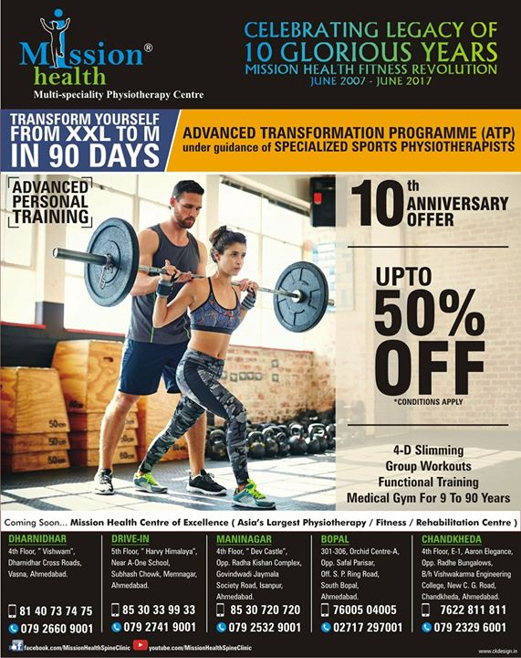 Advanced Transformation Programme (ATP) of 12 Weeks... Transform YourSelf from XXL to M in Just 90 Days... Advanced Personal Training by Sports Physio @ Mission Health... Call 7622811811/8530720720/8530339933