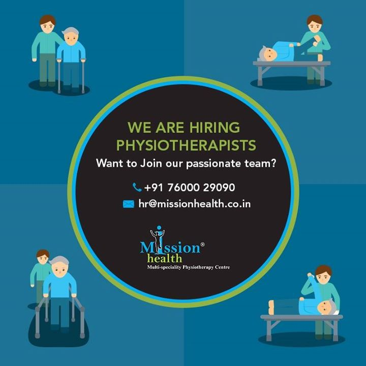 Are you looking for a great career in Physiotherapy? Do not look further. Mission Health is here with lots of opportunities. We are looking to expand our family of ambitious and passionate Physiotherapists. Join us to become a part of India's largest team of Physiotherapists. For more detail kindly visit us - www.missionhealth.co.in Call us at - 7600029090 #MissionHealth #Hiring