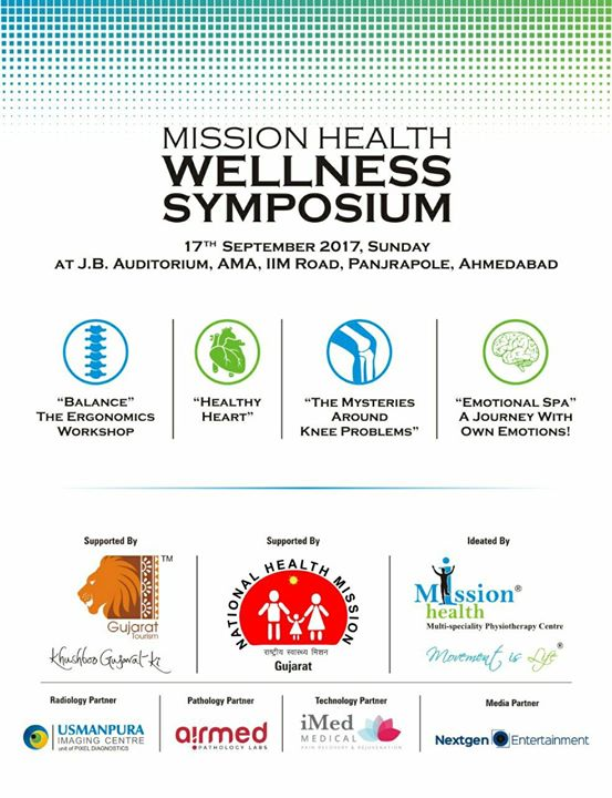 3 Days to Go...Thanks to National Health Mission-Gujarat,  Gujarat Tourisam, I-Med UK,  Usmanpura imaging, Airmed Pathology, Nextgen entertainment to support  Mission Health Wellness Symposium...