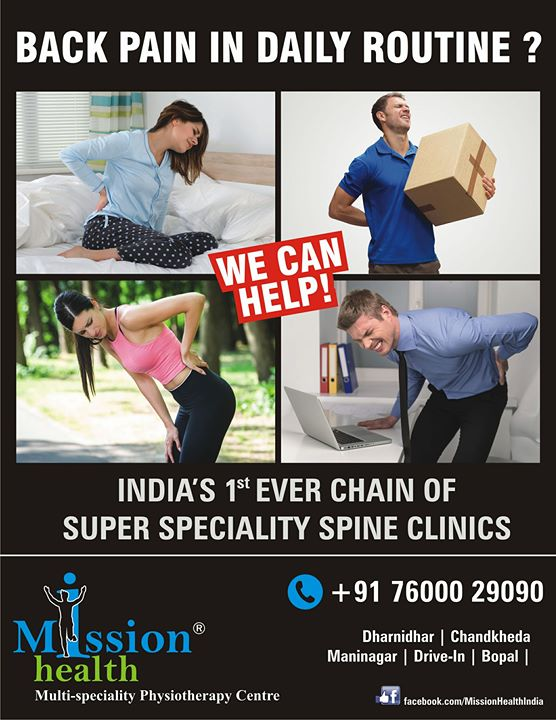 Back Pain In Daily Routine ? Our Team of Spine Specialists can help you... #MissionHealth #SuperSpecialitySpineClinic #7StepSpineRehabProgramme #MovementIsLife Call today for Appointment with our Spine Consultant @ any of the following branches in Ahmedabad. Dharnidhar +918140737475 Drive In +918530339933 Maninagar +918530720720 Bopal +917600504005 Chandkheda +917622811811 www.missionhealth.co.in www.thespinaldecompression.in