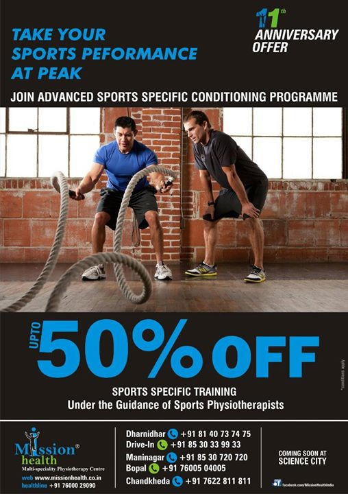 Join Advanced Sports Specific Conditioning Programme under the guidance of Sports Physiotherapist @ Mission Health. 11th Anniversary Discounts upto 50%. For more details contact Dharnidhar +918140737475 Drive In +918530339933 Maninagar +918530720720 Bopal +917600504005 Chandkheda +917622811811 www.missionhealth.co.in www.thespinaldecompression.in Health Line : +917600029090