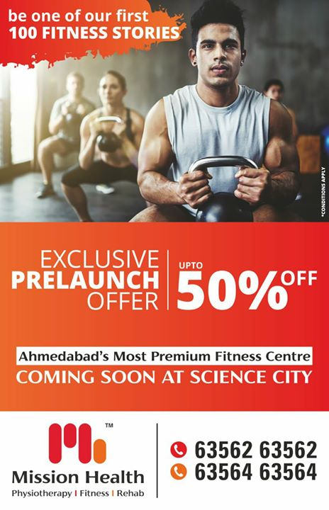 Experience Ahmedabad's Most Premium Fitness Centre Coming Soon @ Science City, where India's top Sports Physiotherapists gather to break all rules of routine fitness.  From Loaded Movement Training to HIIT to 3D Fusion Fitness to Crossfit to Dance Yoga & beyond, We are here to change the future of fitness, in an energetic space that inspires sweat. Drop into tommorow's addictive workout  today !  #MissionHealth #PremiumFitness #9to90Years #NeverBeforeNeverAfterOffer #OneofitsKind #BeOneOfOurFirst100FitnessStories  Call Today for Pre-Launch Offers +916356263562 +916356463564