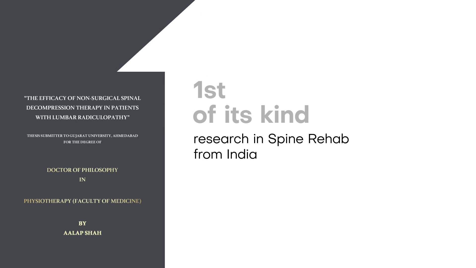 Patience, perseverance & constant dedication are the keys to unlock award-winning achievement because nothing comes as an accomplishment instantly and success cannot be achieved overnight!  Bringing to light the colossal efforts that went behind the mighty mission to formulate the first of its kind research in Spine Rehab from India by Dr. Aalap Shah. Yearning to set yet another benchmark in the arena of Physiotherapy, he has conducted a path breaking study that shall potently add value and evidence to the International Data and Global Research while establishing non-Surgical Spinal Treatment strategies as a mainstay of treatment for Slipped Disc & Sciatica.  This certainly calls for a celebration & with pride Mission Health congratulates Dr. Aalap Shah for walking miles ahead of the league.  #DrAalapShah #PathBreakingStudy #PHDLife #PHDStudy #NonSurgicalSpineTreatment #SlippedDisc #ProudMoment #MilestoneAchieved #ScholarsOfIndia #MissionHealth #CentreOfExcellence