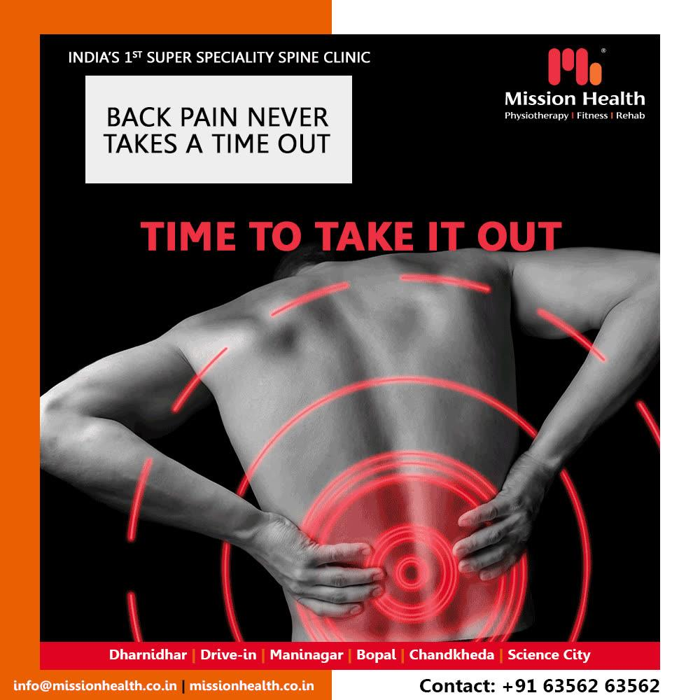 Give a break to your back pain! Visit Mission Health!  #BackPain #SuperSpecialitySpineClinic #SpineClinic #MissionHealth #MissionHealthIndia #AbilityClinic #MovementIsLife