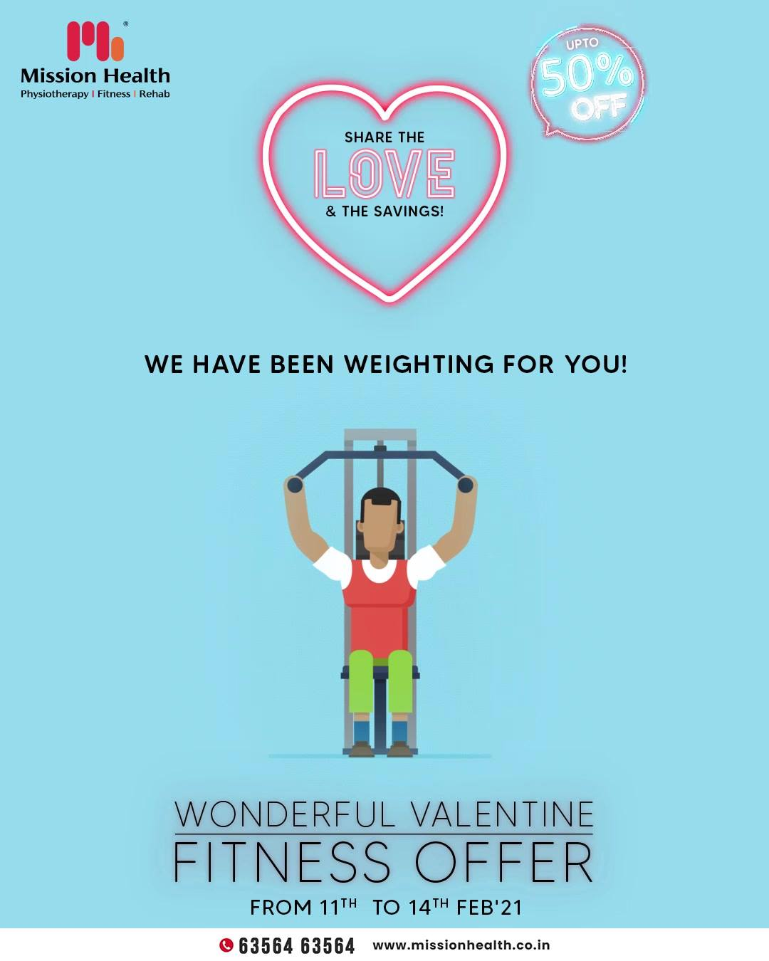 Hello fitness enthusiasts; are you yet to become a member of Mission Health? The wonderful valentine fitness offer is still weighting for you; share the love and the savings.  Make a move and get enrolled today because the offer is valid only till 14th February 2021.  Mission Health Helpline Number: +916356463564 www.missionhealth.co.in  #ValentineFitnessOffer #FitnessisFirstLove #MissionHealth #Fitness #PersonalTraining #FatToFit #Transform #GroupFitness #Slimming #MovementIsLife