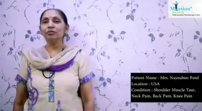 Mrs. Nayna Patel from USA, Case of Shoulder Muscle Partial tear, Knee Pain & Spine Issues is staying @ Mission Health Rehab Suites... She was suffering since many years & now almost recovered 80% from all her Symptoms, Our team will ensure that She will go back to USA with Total recovery... #MissionHealth #SuperSpecialisedPhysiotherapyFitness #RehabSuites #WorldClassAccomodation #AdvancedOrthopaedicRehabilitation #MissionHealthCentreOfExcellence #AdvancedPhysioFitnessRehabProject #LandmarkProjectOfIndia #MovementIsLife www.missionhealth.co.in Health Lines +917622811811/8530720720