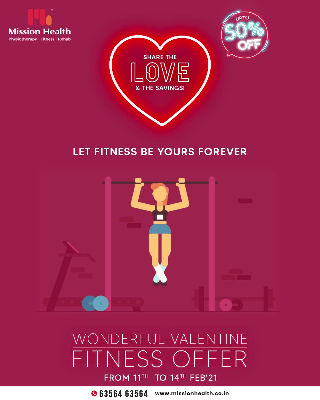 Propose to stay fit for a lifetime and let fitness be yours forever!  Be in love with yourself and understand the importance of fitness. Even if ever you feel unmotivated and wish to give up on your health goals then think of the perks that a fit life will offer you.  Stop delaying anymore and elevate the dimensions of self-love in the month of love. Fall for consistency and make fitness your companion with the Wonderful Valentine Fitness Offer.   Mission Health Helpline Number: +916356463564 www.missionhealth.co.in  #ValentineFitnessOffer #FitnessisFirstLove #MissionHealth #Fitness #PersonalTraining #FatToFit #Transform #GroupFitness #Slimming #MovementIsLife