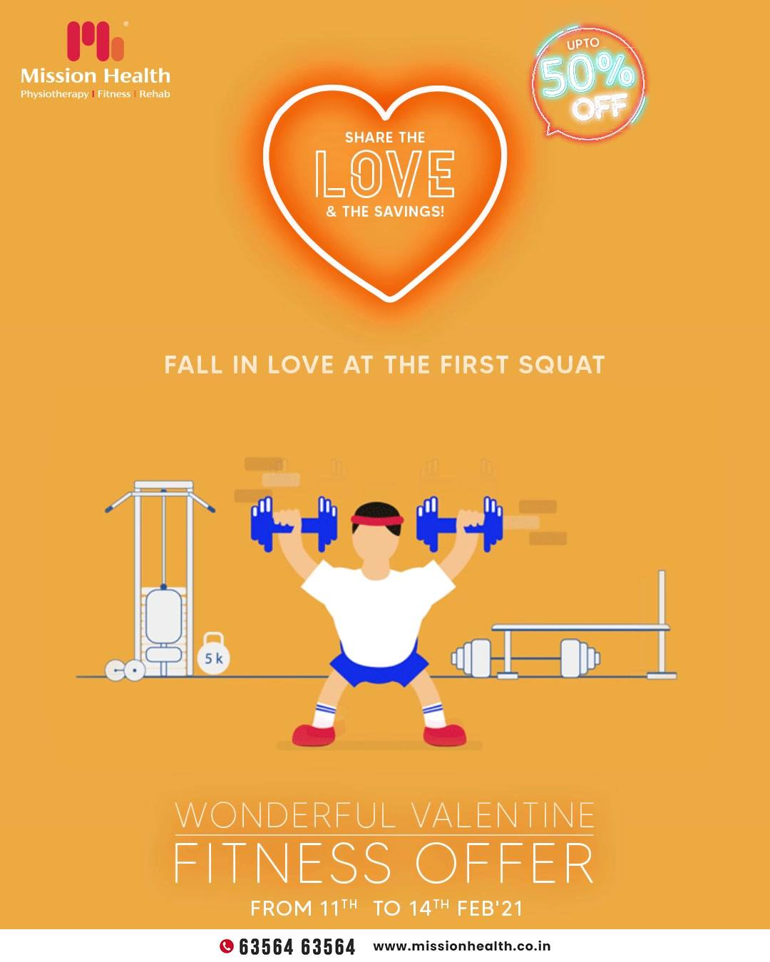 "Gone are the days of ""Love at first sight""; it's time to ""fall in love with the first squat"" because the benefits of doing squats are a gracious plenty.  Awaken the fitness enthusiast in you and walk miles ahead on the path of fitness towards your health goals with our Wonderful Valentine Fitness Offer.  Mission Health Helpline Number: +916356463564 www.missionhealth.co.in  #ValentineFitnessOffer #FitnessisFirstLove #MissionHealth #Fitness #PersonalTraining #FatToFit #Transform #GroupFitness #Slimming #MovementIsLife"