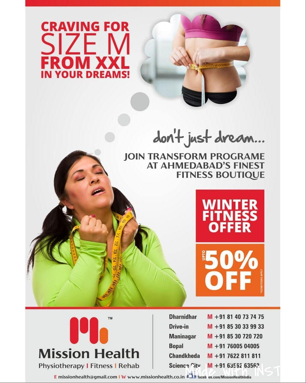 Transform Yourself from XXL to M @ Mission Health Ahmedabad. Don't Just Dream, Join Today Ahmedabad's Finest Fitness Boutique located @ 6 Diffrent Locations.  Mission Health Winter Fitness offer upto 50% Discounts on various packages... Science City +916356463564 Dharnidhar +918140737475 Drive In +918530339933 Maninagar +918530720720 Bopal +917600504005 Chandkheda +917622811811 www.missionhealth.co.in  #MissionHealth #FitnessBoutique #TransformFromXXLtoM  #PersonalTraining #SportsPhysio #GroupFitnessStudio #360DegreeFitness #Cardio #Strength #Endurance #Flexibility #Biomechanics #AdvancedFitness #Stamina #FitYou #MovementIsLife