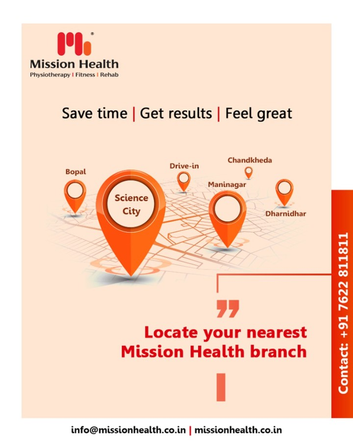 Your health regime gets sorted when you get to hit the floor of your gymnasium without having to go too far! Enjoy the locational advantage & celebrate the ease of access to your nearest Mission Health branch.  Save time | Get results | Feel great  #MissionHealth #MissionHealthIndia #Physiotherapy #Fitness #Rehab