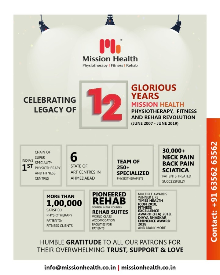 Celebrating our glorious journey of 12years while being thankful to each & every one of you who have been a partner in this with us. ✨🤸‍♂️🏋️‍♀️🎉 #MissionHealth #SuperSpeciality #Physiotherapy #Fitness #Rehab #PhysiosInIndia #Ahmedabad #Gujarat #ThankYouAll #CelebratingLegacyOf12Years #TrendSetter #MovementIsLife