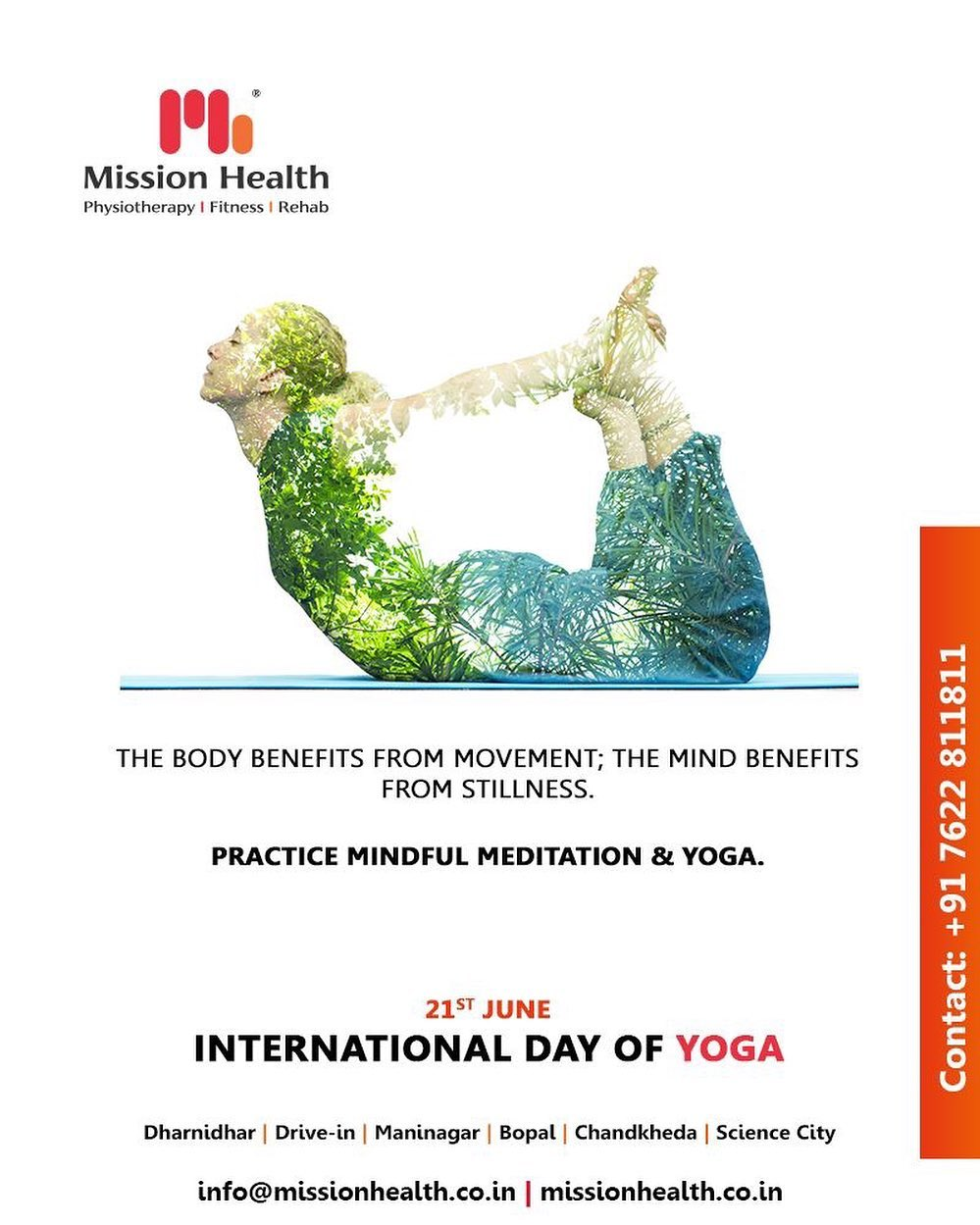 The body benefits from movement; the mind benefits from stillness. Practice mindful meditation & yoga.  #InternationalDayofYoga #InternationalYogaDay #YogaDay #YogaDay2019 #Yoga #IDY2019 #IYD2019 #MissionHealth #MissionHealthIndia #Physiotherapy #Rehab