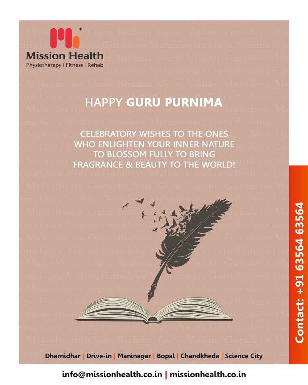 Celebratory wishes to the ones who enlighten your inner nature to blossom fully to bring fragrance & beauty to the world!  #GuruPurnima #GuruPurnima2019 #गुरुपुर्णिमा #IndianFestival #MissionHealth #MissionHealthIndia #AbilityClinic #MovementIsLife