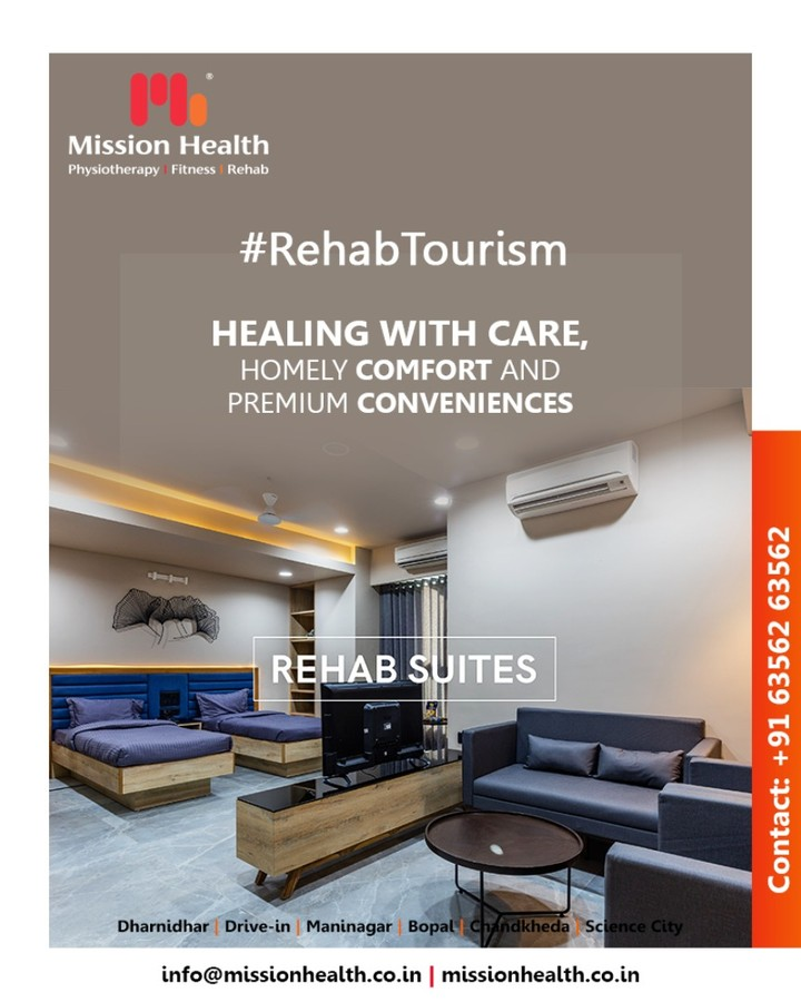 Our Rehab Suites are beautifully designed for your comfort. Every suite has a natural view with customized amenities suited to your needs & according to your condition.  #MissionHealth #MissionHealthIndia #fitnessRehab #AbilityClinic #MovementIsLife #RehabTourism #Rehab #RehabSuites