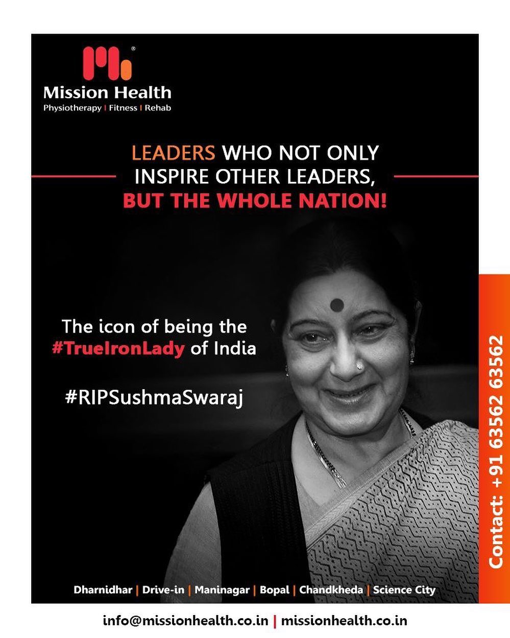 Leaders who not only inspire other leaders, but the whole nation! The icon of being the #TrueIronLady of India  #RIPSushmaSwaraj #RIPSushmaJi #IronLady #SushmaSwarajji #MissionHealth #MissionHealthIndia