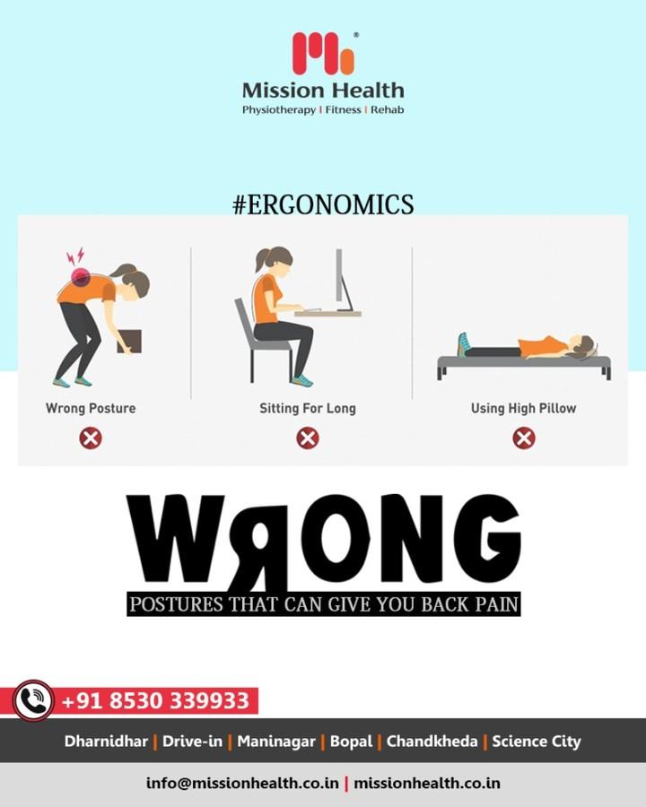 Wrong postures have a negative impact on your back! Avoid these postures towards a happy back!  #MissionHealth #MissionHealthIndia #Ergonomics #DidYouKnow #ErgonomicsFact #MovementIsLife