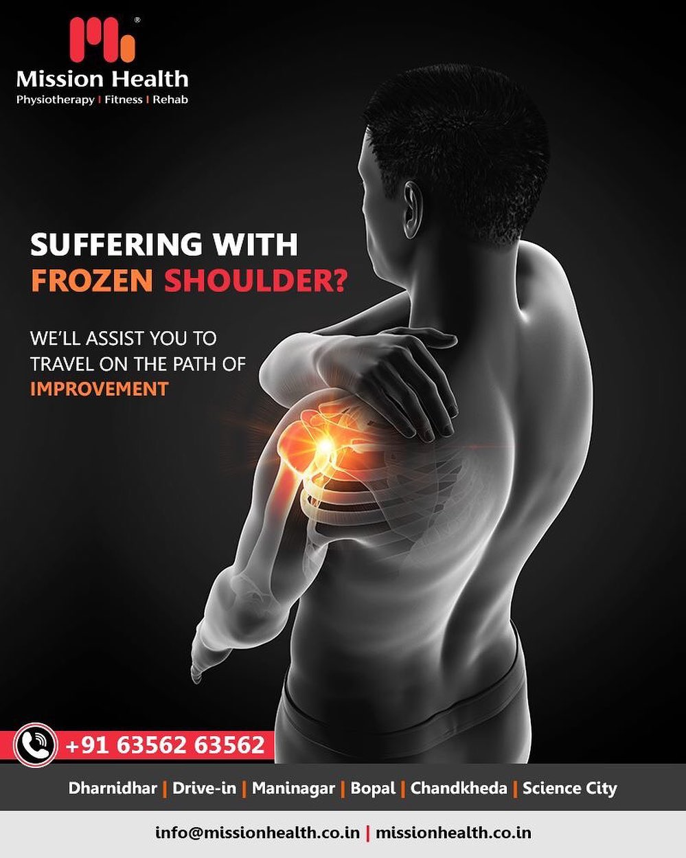 #Frozenshoulder can be extremely painful & difficult to deal with since it restricts your day to day movements!  Trust us with your frozen shoulder treatment!  #MissionHealth #MissionHealthIndia #AbilityClinic #MovementIsLife