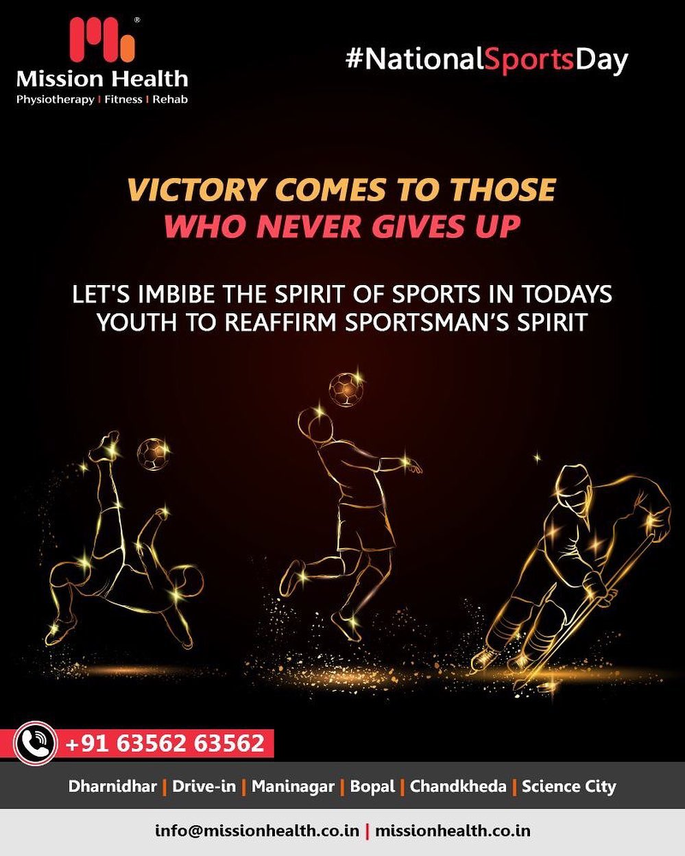Victory comes to those who never gives up. Let's imbibe the spirit of sports in todays youth to reaffirm sportsman's spirit.  #NationalSportsDay #SportsDay  #MissionHealth #MissionHealthIndia #AbilityClinic #MovementIsLife