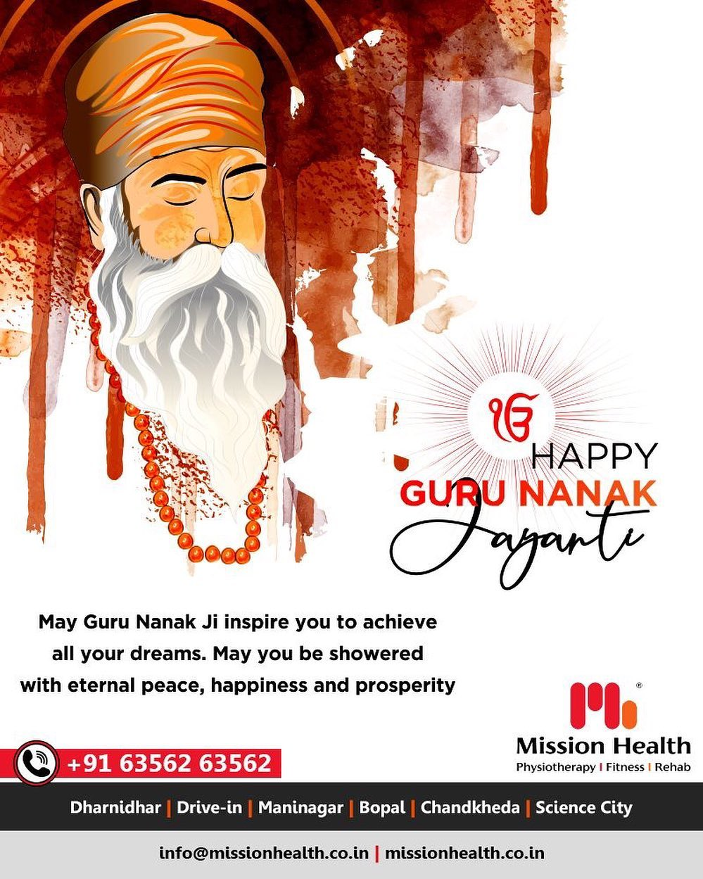 May Guru Nanak Ji inspire you to achieve all your dreams. May you be showered with eternal peace, happiness, and prosperity.  #GuruNanakJayanti #GuruPurab #MissionHealth #MissionHealthIndia #MovementIsLife #AbilityClinic
