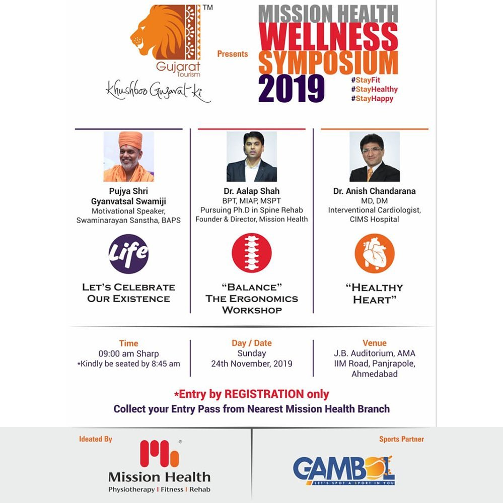 Stay fit...stay healthy...stay happy! Fitness plays a pivotal role in this era of busy lifestyles. Acknowledging the need for its awareness, in a prestigious collaboration with Gujarat Tourism, we are coming up with Mission Health Wellness Symposium 2019 wherein our experts will present a comprehensive talk on how we can celebrate our existence and how precisely we can weave a balanced lifestyle!  Register your name and avail your entry pass from the nearest branch of Mission Health!  #MissionHealthWellnessSymposium2019 #MissionHealth #MissionHealthIndia #MovementIsLife #AbilityClinic