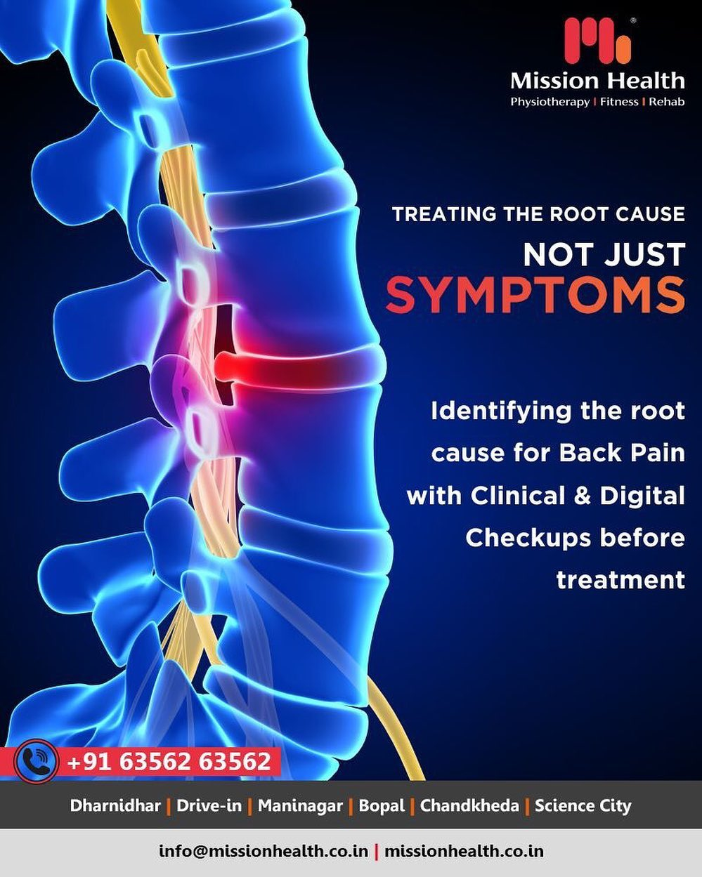 3D Spine Assessment and Clinical Checkup help us find the root cause for Back Pain. Our team of experienced doctors then plans a customized treatment for each patient at Mission Health Super Specialty Spine Clinic.  #backpain #backpainrelief #backpainreliefcenter #physiotherapists #backpainsolution #slippeddisc #slippeddisctreatmentahmedabad #slippeddisctreatmentgujarat #slippeddisctreatmentindia #slippeddisctreatasia #no1sleepdiscedtreatmentindia #superspecialityclinicsforslippeddisc #painmanagementindia #painmanagementasia #painmanagementafrica #internationaltourism #MissionHealth #MissionHealthIndia #MovementIsLife #AbilityClinic