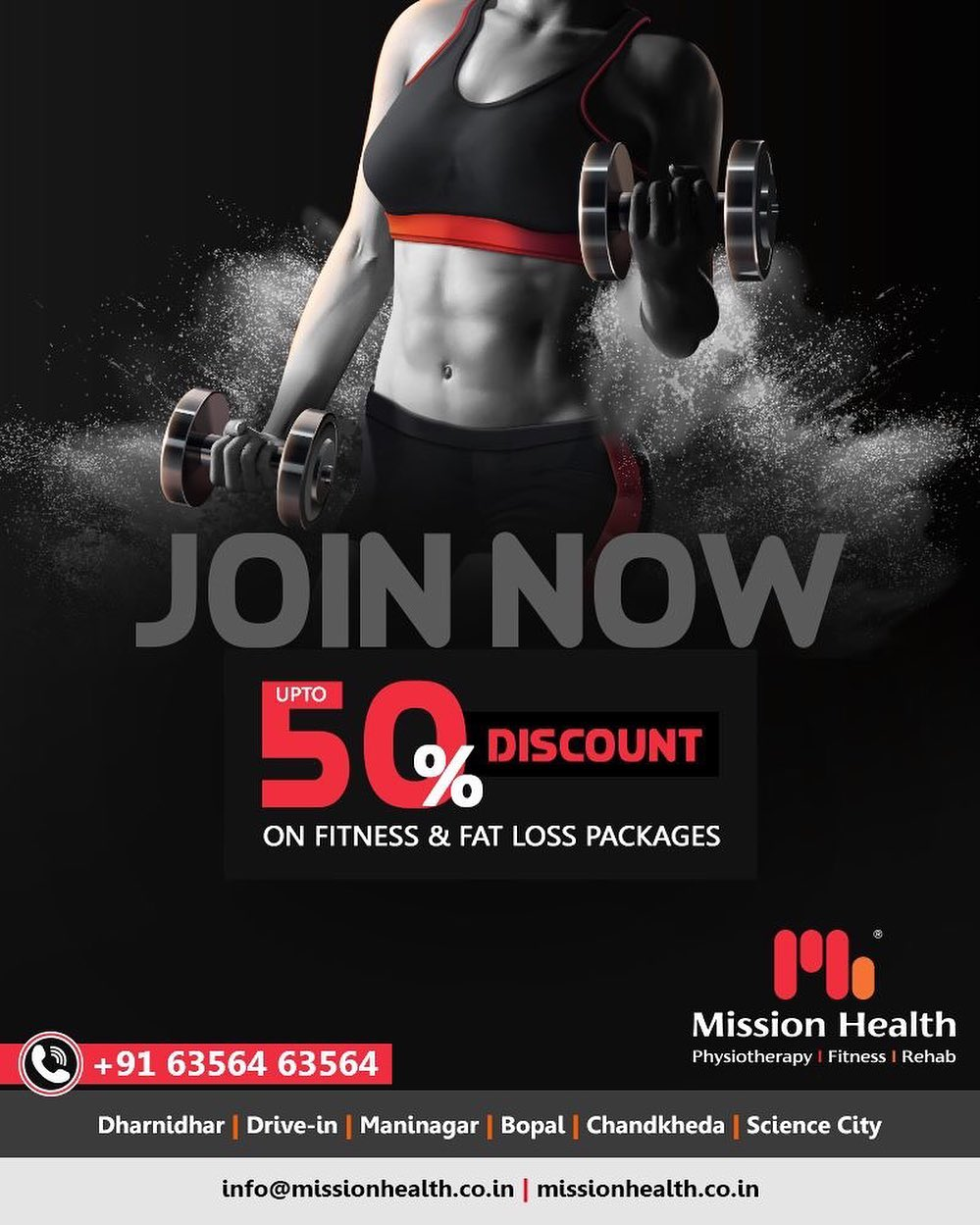 Have You Registered? Mission Health Fitness Boutique is offering up to 50% Discounts on various Fitness & Fat Loss Packages.  Hurry Up! It's a Limited Period Offer  Call: +916356463564 Visit: www.missionhealth.co.in  #fitnessworkout #fitness #fitnessmotivation #workout #fitnesslife #gym #workoutmotivation #fitnessaddict #fitnesscoaching #healthchallenge #MissionHealth #MissionHealthIndia #MovementIsLife