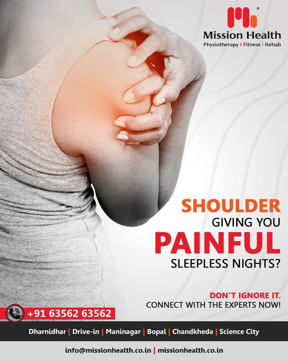 At Mission Health Shoulder Clinic, we offer Comprehensive Physiotherapy and Rehabilitation services to patients, for a host of shoulder concerns. We pride ourselves on our highly focused expert one-on-one treatment and care meant for all types of shoulder conditions and treatments tailor-made to patients' needs.  Call +916356263562 www.missionhealth.co.in  #shouldertreatment #shoulderpain  #shoulderinjury #shoulderrehab #shouldermobilization #frozenshoulder #shouldersurgery #shoulderpainrelief #heathyliving #healthylifestyle #MissionHealth #MissionHealthIndia #MovementIsLife