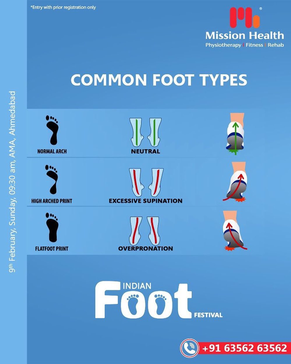Look l Check l Click l Share  In simple four steps, get your registration done for the Indian FOOT Festival.  Learn all about FOOT abnormalities, causes, and their solutions. Visit us at the Indian FOOT Festival by Mission Health  Keep Reading this space for more updates!  Call: +916356263562 Visit: www.missionhealth.co.in  #IndianFootFestival #ComingSoon #FootClinic #footpain #footcare #foothealth #heelpain #anklepain #flatfeet #painrelief #healthyfeet #happyfeet #MissionHealth #MissionHealthIndia #MovementIsLife