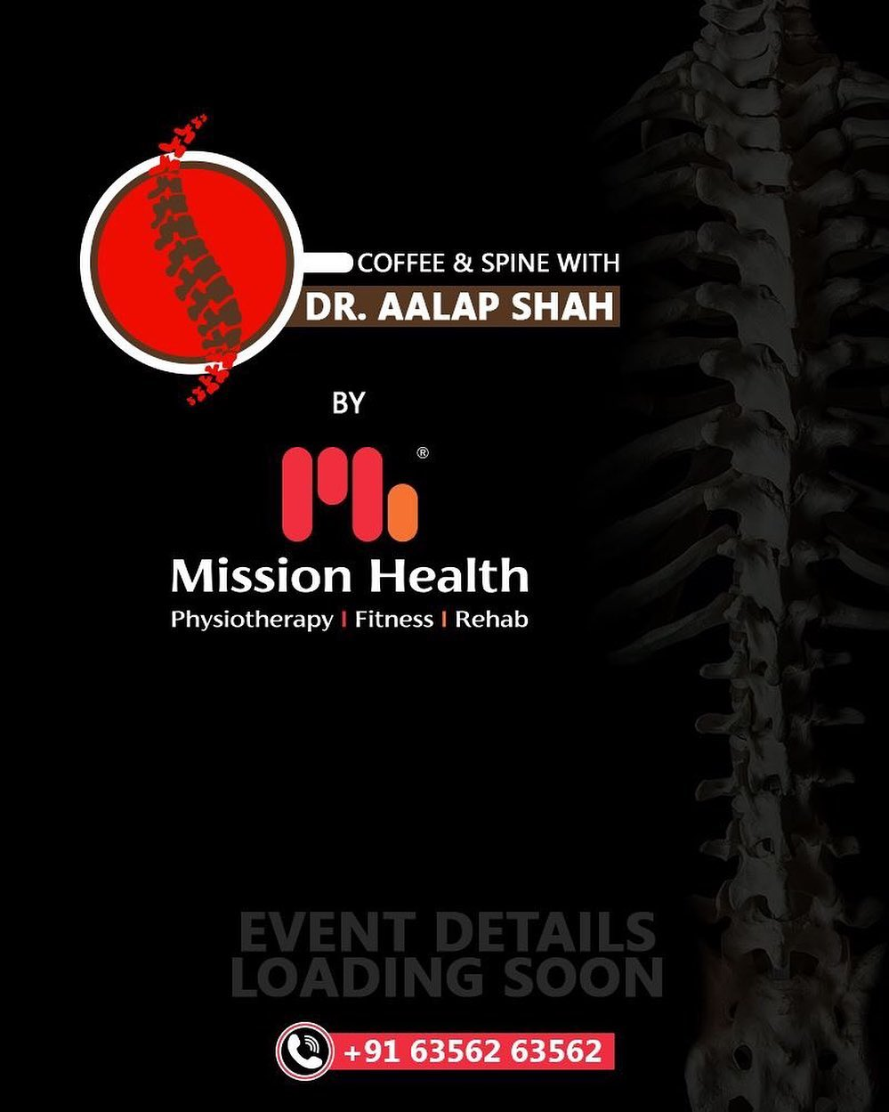 Coffee and Spine with Dr. Aalap Shah by Mission Health coming soon!  Stay tuned for more updates... Call: +916356263562  Visit: www.missionhealth.co.in  #CoffeeAndSpineWithDrAalapShah #DrAalapShah #SuperSpecialitySpineClinic #SpineClinic #BackPain #NeckPain #SlippedDisc #MissionHealth #MissionHealthIndia #AbilityClinic #MovementIsLife