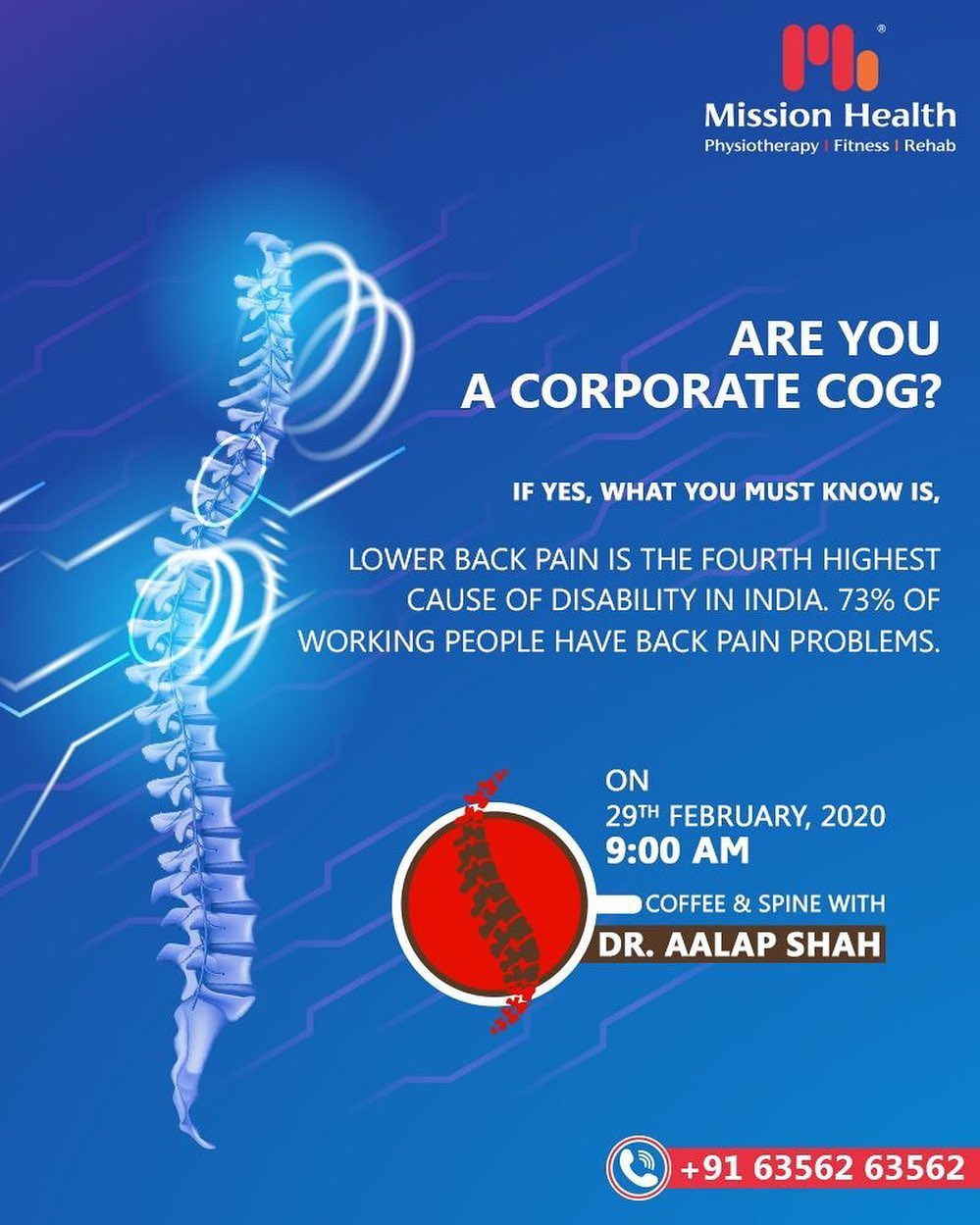 Lower Back Pain is the fourth highest cause of disability in India. 73% of working people have Back Pain problems.  A sedentary lifestyle combined with poor posture at work and while using gadgets contributes to the rise in such conditions.  Keep reading this space for more Spine Updates  Call: +916356263562  Visit: www.missionhealth.co.in  #CoffeeAndSpineWithDrAalapShah #DrAalapShah #SuperSpecialitySpineClinic #SpineClinic #BackPain #NeckPain #SlippedDisc #MissionHealth #MissionHealthIndia #AbilityClinic #MovementIsLife